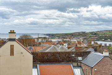 View of cityscape of Berwick-upon-Tweed, northernmost town in Northumberland at the mouth of River Tweed in England, UK