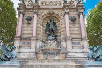 Aluminium Prints Fontaine Paris, the Saint-Michel fountain, famous place in the french capital