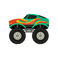 Flat vector icon of monster truck with large tires and black tinted windows. Extreme transport. Heavy green car with flame decal