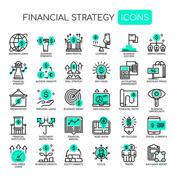 Financial Strategy , Thin Line and Pixel Perfect Icons.
