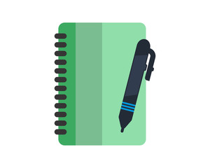 green book pen school equipment image vector icon logo symbol