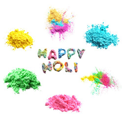 Set of colorful powders for Holi festival on white background