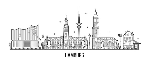 Wall Mural - Hamburg skyline silhouette vector linear style