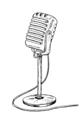 Old style microphone drawing - vintage like illustration of sound mic on white background.