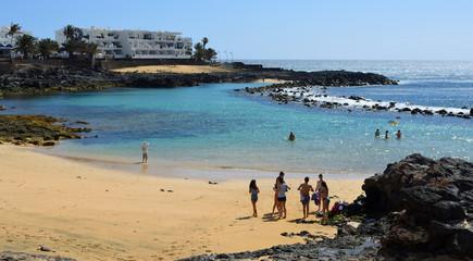 View of Playa Jablillo Beach Costa Teguise Lanzarote.