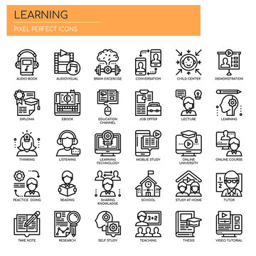 Learning Elements, Thin Line and Pixel Perfect Icons