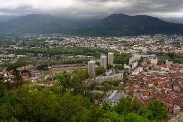 Amazing view with Isere river  and buildings architecture. .View