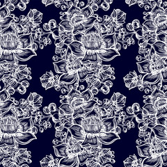 Exotic tropical flower and buds seamless pattern. Wild summer flowers, background in line art style.