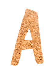 English alphabet from cork on a white background. abc