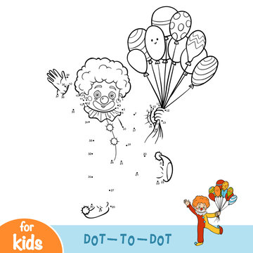Numbers game, dot to dot game for children, Clown