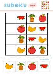 Sudoku for children, education game. Fruits