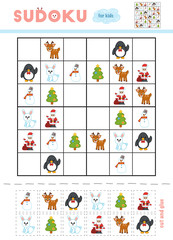 Sudoku for children, education game. Cartoon Christmas items - Christmas tree, Snowman, Penguin, Rabbit, Deer and Santa Claus.