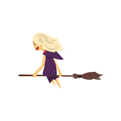 Little witch character flying with broom cartoon vector Illustration on a white background
