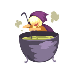Cute little witch character preparing a potion in cauldron cartoon vector Illustration on a white background