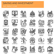 Saving and Investment , Thin Line and Pixel Perfect Icons