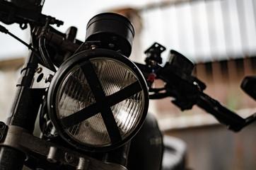 ็Headlights of classic motorcycle.