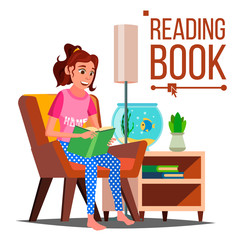Woman Reading Book Vector. Reading At Home. Love Reading. Isolated Flat Cartoon Illustration