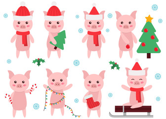 Cute cartoon pig clipart. New Year or Christmas symbol. Flat style characters.  Vector illustration