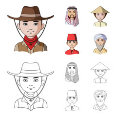 Arab, turks, vietnamese, middle asia man. Human race set collection icons in cartoon,outline style vector symbol stock illustration web.