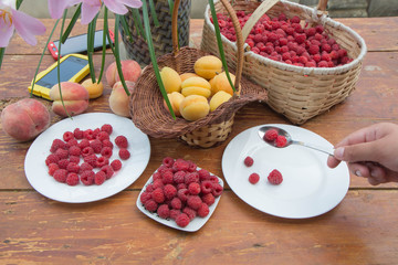 fresh and organic fruits on wooden table