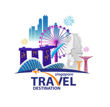 Singapore Travel Landmarks. Vector and Illustration.