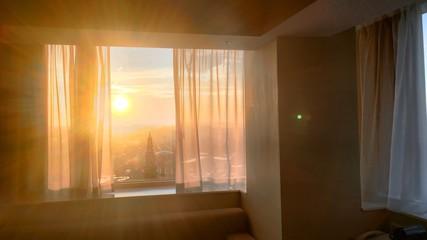 Sunrise from an hotel window