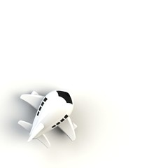 Close up of airplane illustration on white background, Top view with copy space, 3d rendering