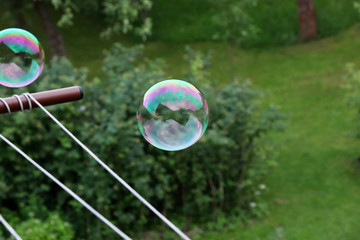 A colourful bubble flying in the air above garden and trying fly away. Bubble was created bubble blower in my hand