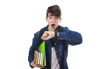 student with books looking at the clock surprised of the schedule