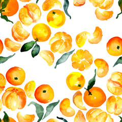 Ripe, juicy, orange, citrus fruits. Fragrant, tropical, sour, sweet tangerines. Southern, soft, useful oranges. A lot of berries, a rich harvest. Watercolor. Illustration