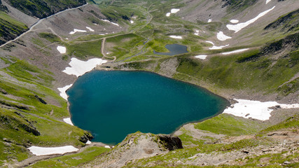 view of lake Oncet in the french mountains pyrenees