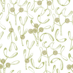Vector  seamless pattern with hand drawn mistletoe.