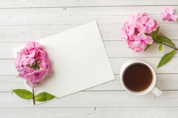 Pink Phlox flowers and a Cup of coffee on a white table. Free space for text