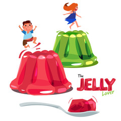 Kid jumping or playing on colorful jelly. jelly lover concept. logotype come with spoon of jelly - vector