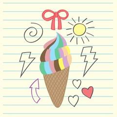 Rainbow ice cream, drawing, thunder, loves, sun ribbon and arrow doodle