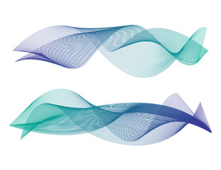 Set of abstract geometric dynamic sea wave. Creative line art. Design elements created using the Blend Tool.