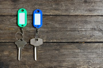 House keys with color tag keyring with green garden background, property concept, copy space