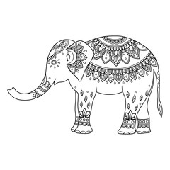 Elephant decorated with Indian ethnic floral vintage pattern. Hand drawn decorative animal in doodle style. Stylized mehndi ornament for tattoo, print, cover, book and coloring page.