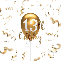 Happy 13th birthday gold balloon greeting background. 3D Rendering