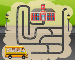 Help the school bus find the way to school