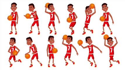 Basketball Player Child Set Vector. In Action. Leads, Playing With A Ball. Healthy Lifestyle. Runningm Jump With Ball. Isolated Flat Cartoon Illustration