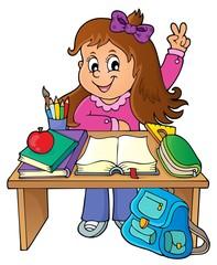 Girl behind school desk theme image 1