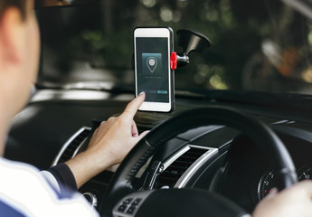 Navigation system application on a phone screen