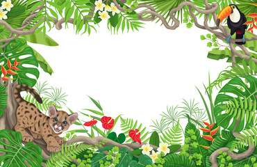 Tropical Background with Puma and Toucan