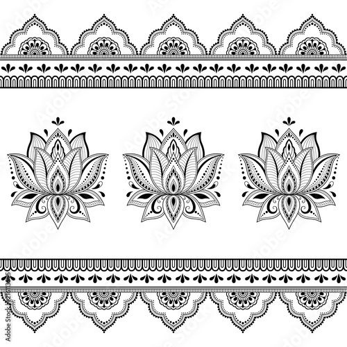 Set of mehndi lotus flower pattern and seamless border for henna set of mehndi lotus flower pattern and seamless border for henna drawing and tattoo decoration mightylinksfo