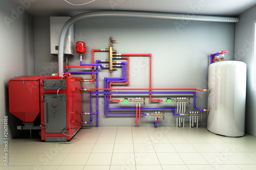 Hot water boiler Boiler room with a heating system 3d render\