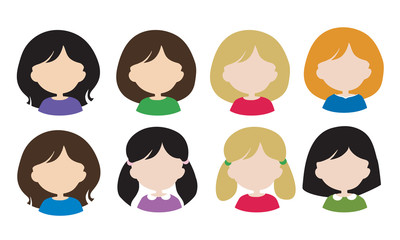 Set flat design of female avatars - head with hair without face, with different hair styles and hair color - usable for web or social networks