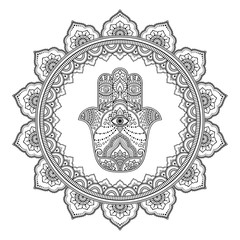 Circular pattern in form of mandala for Henna, Mehndi, tattoo, decoration. Decorative ornament in oriental style with Hamsa hand drawn symbol. Coloring book page.