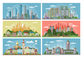 Cityscape vector city landscape with urban architecture building or construction and houses in the town streets illustration set of downtown scene with skyline and skyscraper