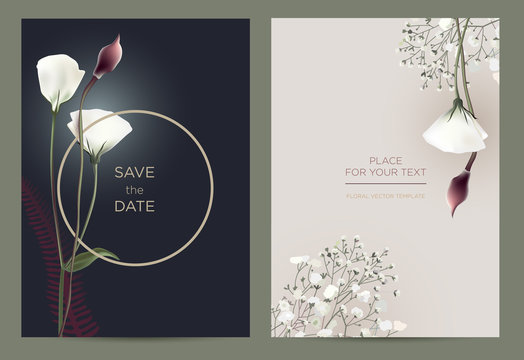Luxury invitation card in the botanical style. Template card for the wedding, birthday and celebration.